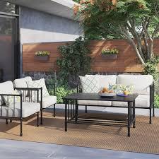 Fernhill 4pc Metal Patio Conversation Set Linen Threshold