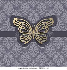 Vintage Paper Cut Vector Background 3d Golden Lacy Butterfly On Grey Ornamental Invitation