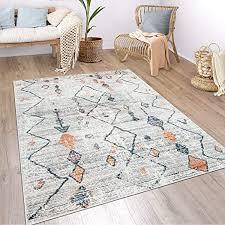 paco home teppich wohnzimmer boho ethno marokkanische muster moderner kurzflor mit struktur in bunt beige grösse 60x100 cm farbe creme