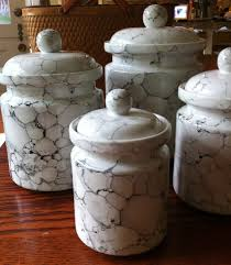 Savannah Turquoise Kitchen Canister Set by White Kitchen Canister Set Ceramic Marble Glaze By Hillsidehouse