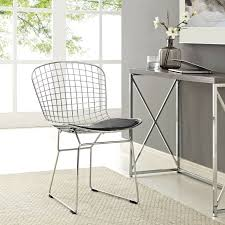 100 Modern Metal Chair Details About Contemporary Wire Dining With Faux Leather Cushion In Black
