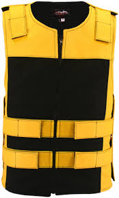 leather u0026 cordura combo zippered tactical vest yellow black