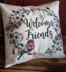 Welcome Friends Christmas Wreath Throw Pillow