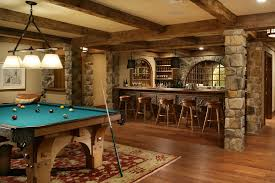 Rustic basement bar ideas basement traditional with stone columns