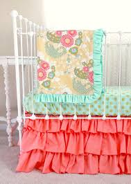 Aqua And Coral Crib Bedding by Coral Buttercup Bumperless Baby Bedding Lottie Da Baby Baby