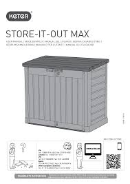 keter store it out max user manual 11 pages