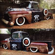 100 Cen Cal Trucks 55 Chevy Stepside Pickup Truck Bagged On Whitewalls Rats Pickup