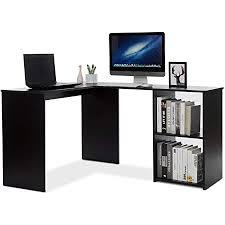 mondeer eckschreibtisch computertisch lförmig schreibtisch mit 2 ablagen großer fürs arbeitszimmer wohnzimmer büro 108 135 73 5 cm schwarz