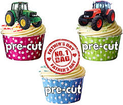 vater s day traktor kuchen dekorationen essbar stand up cup kuchen topper pack 12