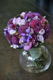 Beautiful Round Wedding Bouquet Made Up Plum Dahlias Purple