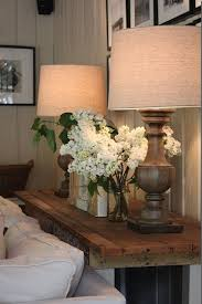 Rustic Chic Living Room With Two Wood Lamps