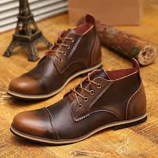 Us 6 10 Fashion Real Leather Lace Up Cap Toe Mens Oxford Formal Dress Shoes Winter Ankle Boots Casual Womens Uk From