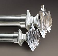 crystal square finials silver set of 2