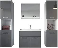 badezimmer badmöbel montreal xl 60 cm waschbecken grau hochglanz fronten unterschrank hochschrank waschtisch möbel