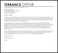 sample vacation leave letter to manager Asafonec