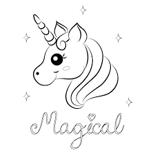 Printable Baby Unicorn Coloring Pages Cute Cartoon Vector Page