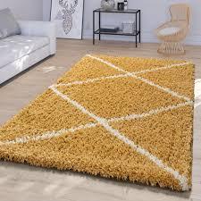 wohnzimmer teppich skandi rauten design shaggy