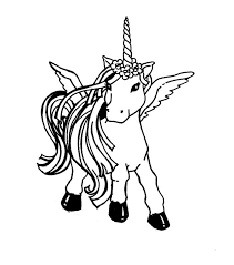 Unicorn With Wing Coloring Pages