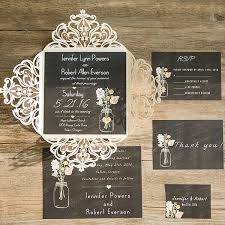 Ivory Laser Cut Chalkboard Mason Jar Rustic Wedding Invitations EWWS089 As Low 209