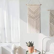 jolitac makramee wandbehang gewebt dekoration wandteppich böhmische wanddeko türvorhang aus baumwolle handgefertiges textil kunst deko für wohnung