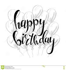 Happy Birthday Greeting Card With Calligraphy Design Black And White Overlay