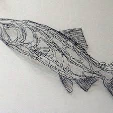 King Salmon 4ft Wire Sculpture 2D Wall Art By Elizabeth Berrien Chinook Coho