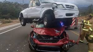 No One Injured As Pickup Lands On Top Of Honda CR-V In Shock Hit-and ...