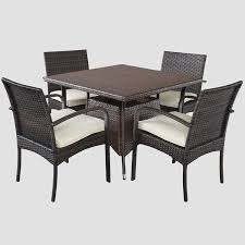 Amazon.com: Carmela 5 Piece Outdoor Patio Furniture Wicker Dining ... Outdoor Wicker Ding Set Cape Cod Leste 5piece Tuck In Boulevard Ipirations Artiss 2x Rattan Chairs Fniture Garden Patio Louis French Antique White Back Chair Naturally Cane And Plantation Full Round Bay Gallery Store Shop Safavieh Woven Beacon Unfinished Natural Of 2 Pe Bah3927ntx2 Biscayne 7 Pc Alinum Resin Fortunoff Kubu Grey Dark Casa Bella Uk Target Australia Sebesi 2fox1600aset2