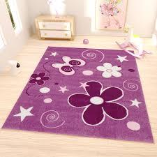 kinder teppich lila blumen sterne schmetterling i6566 vimoda homestyle