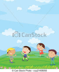 Kids Playing Illustration Of Outside