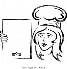 Royalty Free Clip Art Vector Logo of a Black and White Happy Lady Chef Holding a