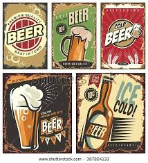 Vintage Poster Templates For Cold Beer Retro Label Or Banners Design Collection