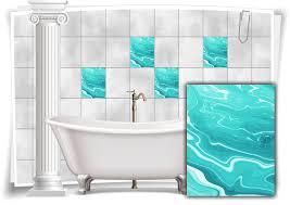 fliesen aufkleber folie marmor öl ölfarben abstrakt grün türkis bad wc deko küche
