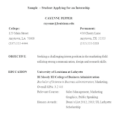 Format A Resume Example Of For Internship Sample