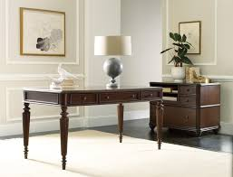 Hooker Furniture Home fice Rope Moulded Double Pedestal Desk with Leather Writing Surface and 2 Locking File Drawers Wayside Furniture