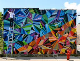 Famous Spanish Mural Artists by Colorful Geometric Graffiti Murals