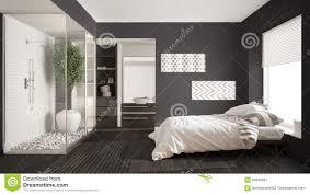unbedeutendes schlafzimmer und badezimmer mit dusche und