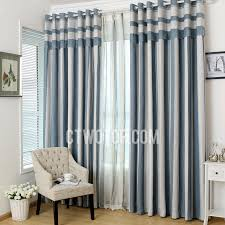 elegant blue and grey vertical striped panel curtains