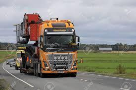 100 Volvo Semi Truck KOSKI TL FINLAND AUGUST 15 2017 Yellow FH16