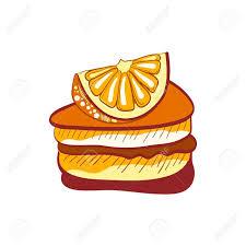 Illustration of doodle orange cake slice isolated on white background Stock Vector