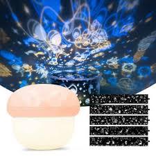 navaris led nachtlicht pilz projektionsle mit led nachtleuchte funktion 5 projektionsdesigns mit usb ladekabel projektor lichterspiel für