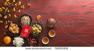 Flat Lay Chinese New Year Food And Drink Still Life On Rustic Wooden Background Translation