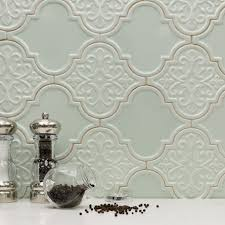 Glazzio Tiles Versailles Series by Vector Seamless Floral Geometric Arabesque Pattern Green And White