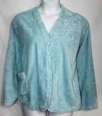 Chenille Bed Jacket by Stan Herman Plush Zip Front Robe With Textured Trim A228543 On