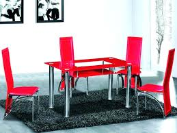 Red Dining Room Chairs Set Full Glass Table And 4