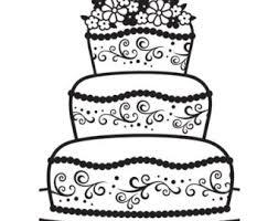 black and white wedding cake clipart