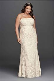 Strapless Lace Empire Waist Plus Size Wedding Dress 9S8551 Floor
