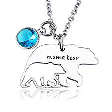 Amazon Necklace For Mom Mama Bear Birthstone Charms Pendant Necklaces Mothers Day Birthday Gift Family Jewelry