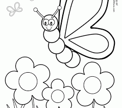Spring Flowers Coloring Pages Butterfly With Silly Draw