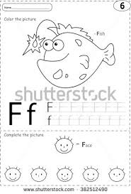 Cartoon Fish And Face Alphabet Tracing Worksheet Writing A Z Coloring Book Educational